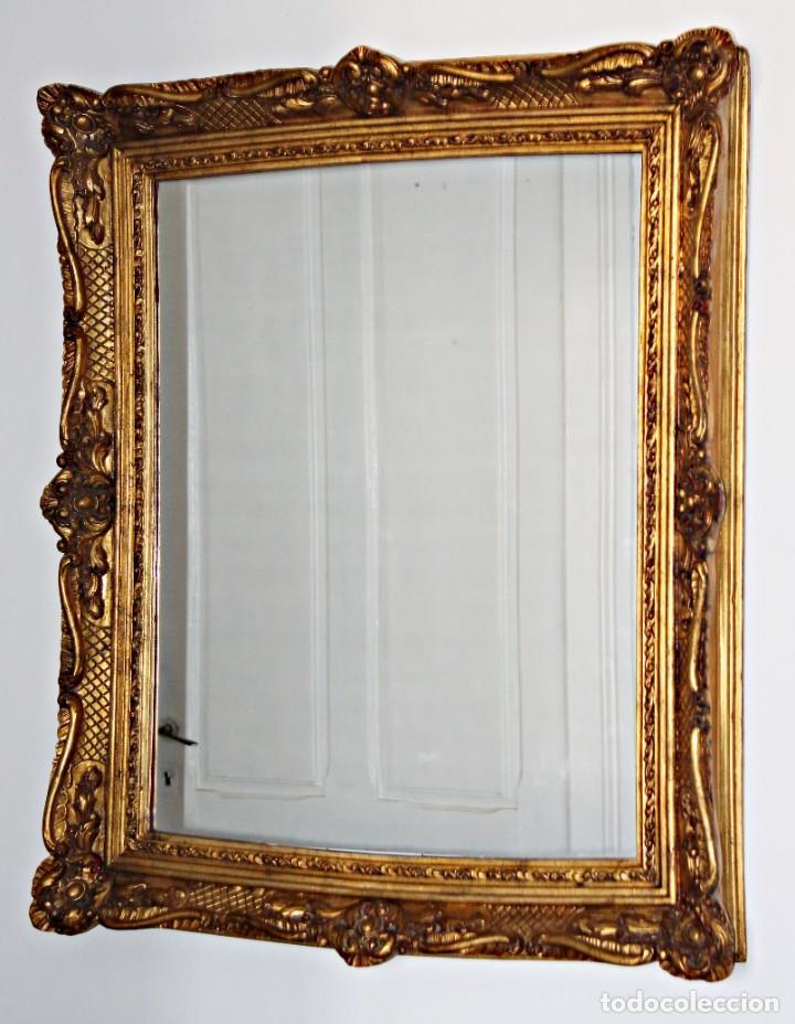 Antigüedades: Espejo marco de madera y pan de oro. 1940. 90 x 76 cm - Foto 32 - 205579938