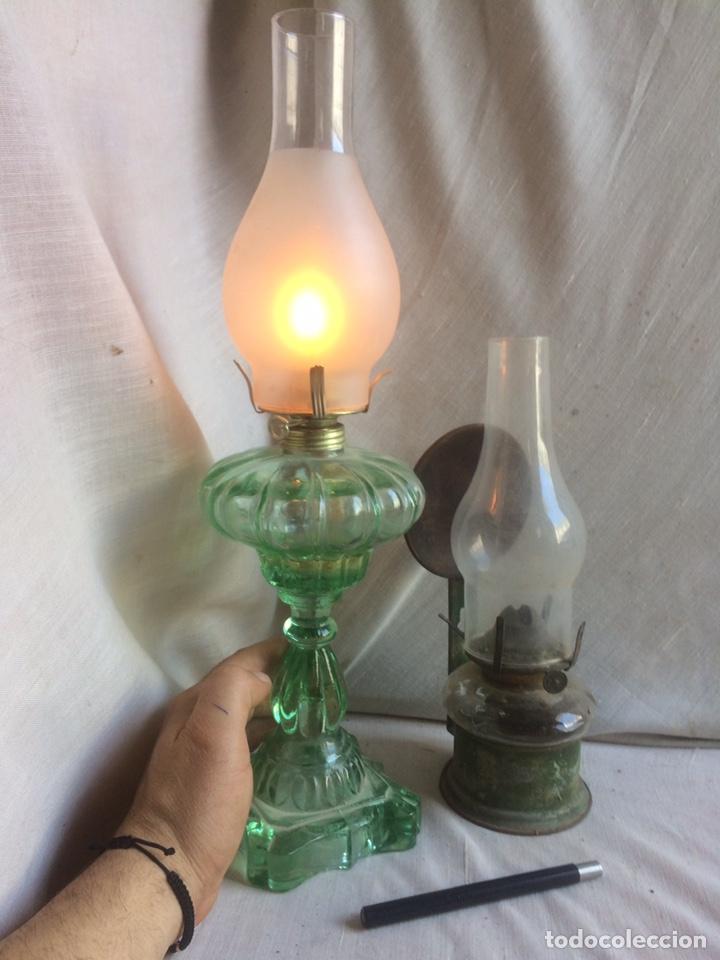 LOTE DE DOS ANTIGUOS QUINQUES DE ACEITE! (Antigüedades - Iluminación - Quinqués Antiguos)