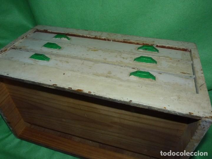 Antigüedades: Antigua cajonera mueble publicidad C. A. Hilaturas de Fabra y Coats Mercería pintado para restaurar - Foto 9 - 205596612