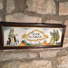 Antigüedades: ANTIGUOS 3 AZULEJO / AZULEJOS PINTADOS A MANO AVE MARIA CERAMICA POPULAR CATALANA AÑOS 50. Lote 205605141