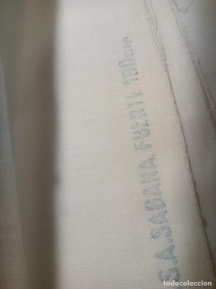 Antigüedades: Juego cama sábana y funda viuda tolrra bordado con puntilla sin estrenar. - Foto 14 - 205605901
