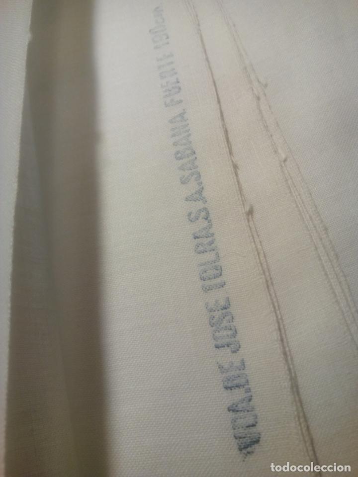 Antigüedades: Juego cama sábana y funda viuda tolrra bordado con puntilla sin estrenar. - Foto 12 - 205606225