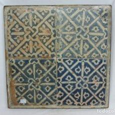Antigüedades: PLAFON DE 4 AZULEJOS GÓTICOS VALENCIANOS S.XV. Lote 205656703