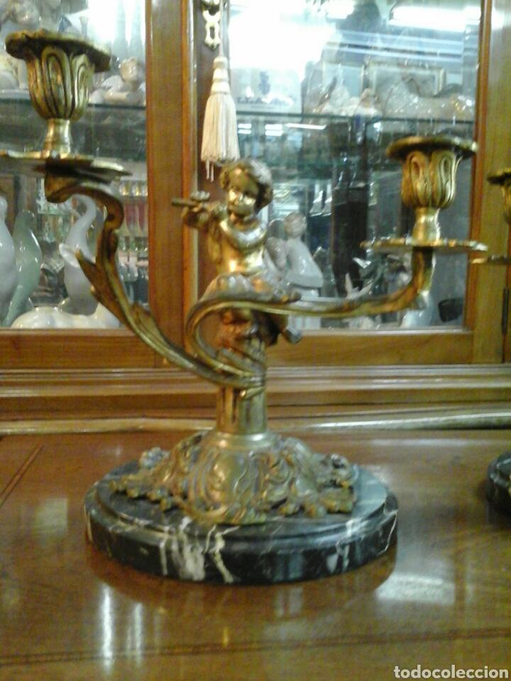 Antigüedades: Pareja de candelabros bronce - Foto 3 - 205669232