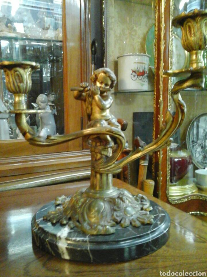 PAREJA DE CANDELABROS BRONCE (Antigüedades - Iluminación - Candelabros Antiguos)