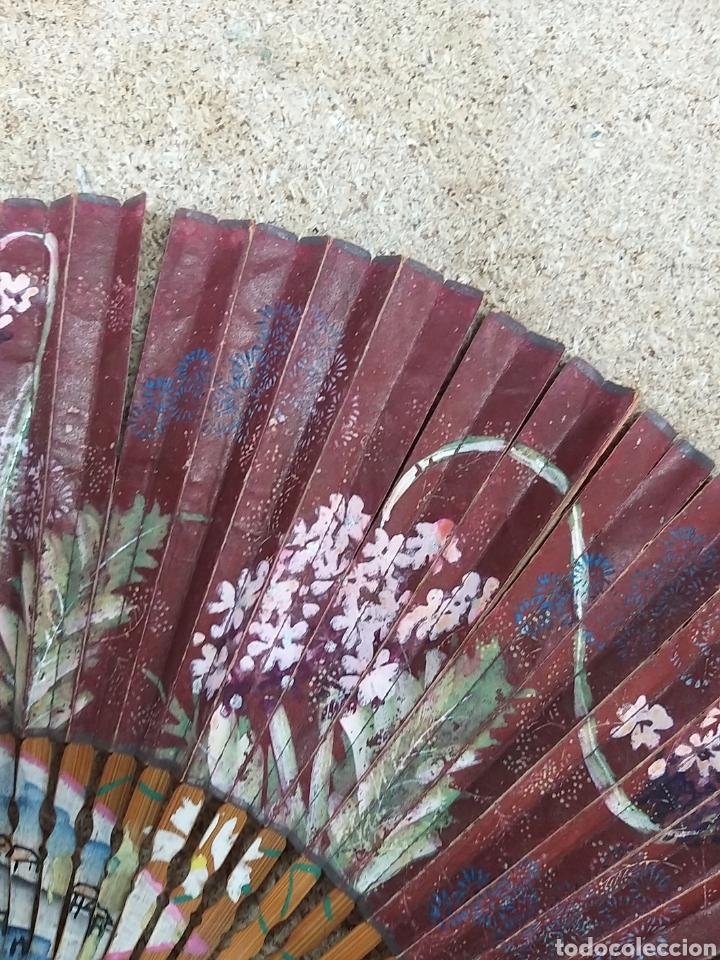 Antigüedades: Abanico de papel pintado a mano - Foto 7 - 205669532
