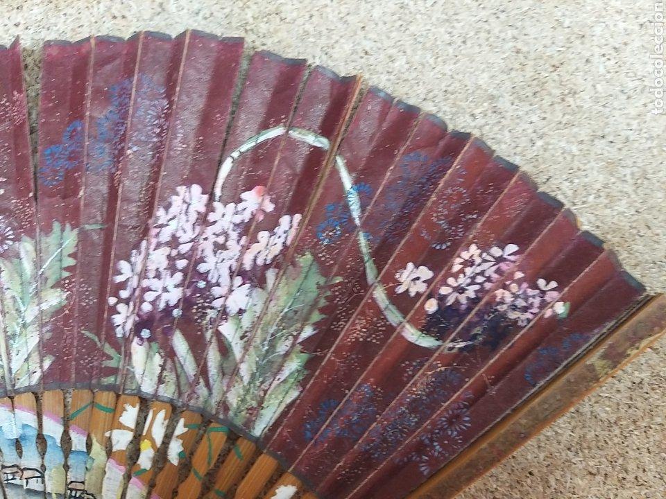 Antigüedades: Abanico de papel pintado a mano - Foto 2 - 205669532