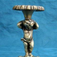 Antigüedades: ANTIGUA Y BONITA PIEZA DE BRONCE - ÁNGEL - CANDELABRO - LÁMPARA - SOPORTE Y BASE - BONITA PÁTINA. Lote 205685688