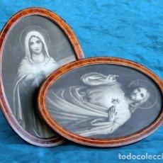 Antigüedades: ANTIGUOS MARCOS OVALADOS - TEMÁTICA RELIGIOSA - MADERA DE RAÍZ CON MARQUETERÍA - SAGRADO CORAZÓN. Lote 205689650