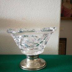 Antigüedades: FRUTERO DE CRISTAL Y BASE DE METAL. Lote 205691368