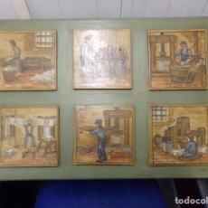Antigüedades: PANEL AZULEJO OFICIOS AÑOS 60 PINTADOS A MANO. Lote 205696053