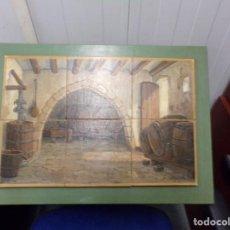 Antigüedades: PANEL AZULEJOS BODEGA PINTADO A MANO. Lote 205696256