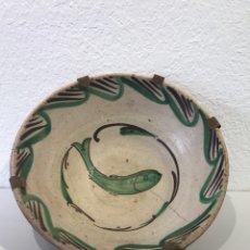 Antigüedades: CUENCO GRANDE DE BARRO DE TERUEL CON DIBUJO VERDE Y MARRÓN. S. XIX. Lote 165012329