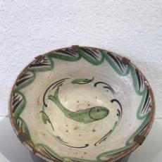 Antiguidades: GRAN CUENCO DE BARRO DE TERUEL. SIGLO XIX. Lote 205701082