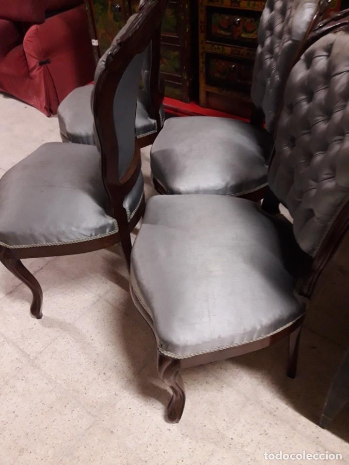 Antigüedades: 4 sillas Isabelinas - Foto 3 - 205705307