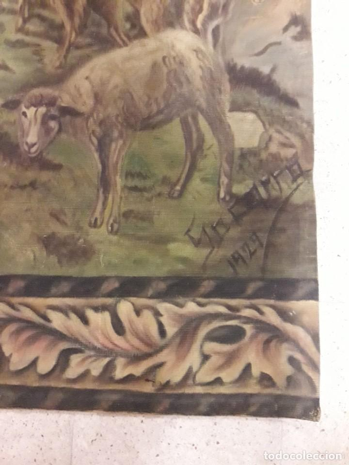Antigüedades: Tapiz pintado a mano - Foto 5 - 205706061