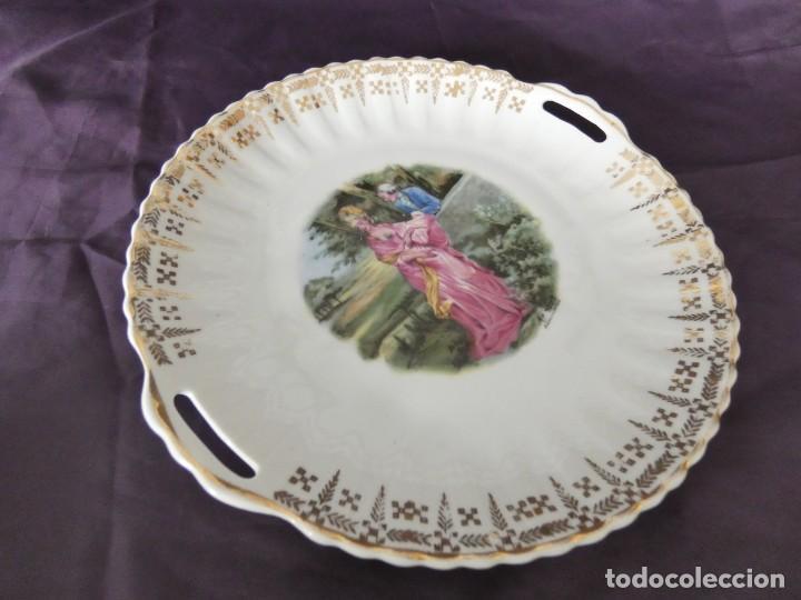 Antigüedades: plato decorativo con asas porcelana santa clara - Foto 3 - 205714236