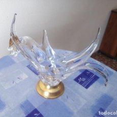 Antigüedades: ESPECTACULAR CENTRO DE MESA DE CRISTAL (PROBABLEMENTE DE MURANO) BASE DE LATÓN DORADO. Lote 205727355