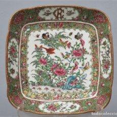 Antigüedades: PRECIOSA BANDEJA DE PORCELANA. CHINA. FAMILIA ROSA. SIGLO XIX. Lote 205729456