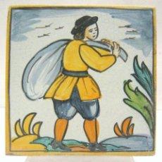 Antigüedades: RAJOLA OFICIS . DE FULLES . S. XVIII . AZULEJO DE OFICIOS . HOMBRE DEL SACO . PERFECTO ESTADO !. Lote 205734795