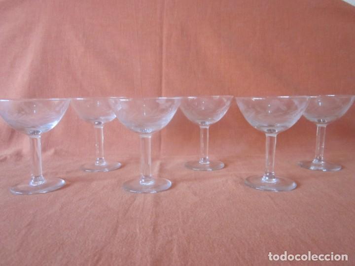 6 COPAS CAVA ALTAS BOCA ANCHA CRISTAL TALLADO (Antigüedades - Cristal y Vidrio - Otros)
