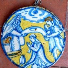 Antigüedades: TONDO (AZULEJO REDONDO) DE TOLEDO DEL SIGLO XVII. Lote 205741590