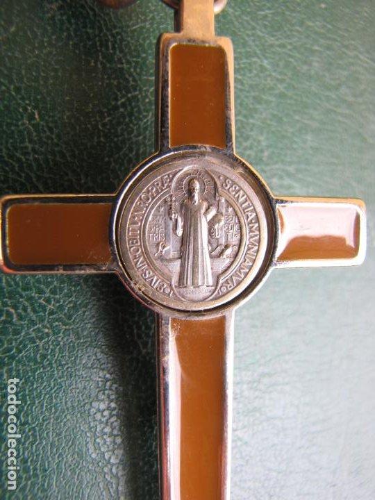 Antigüedades: 3- Cruz de exorcismo. San Benedicto. ;Bronce plateado y esmalte - Foto 5 - 205772542