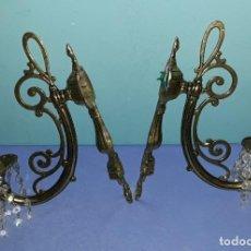 Antigüedades: ANTIGUA PAREJA DE APLIQUES DE BRONCE PARA PARED. Lote 205789470