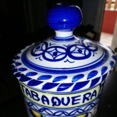Antigüedades: ANTIGUA BOTE CERÁMICA PARA TABACO PINTADO COMPLETAMENTE A MANO. Lote 205792285
