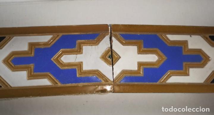 Antigüedades: AZULEJOS DE ALIZAR EN CUERDA SECA, TRIANA MENSAQUE - Foto 3 - 205796985