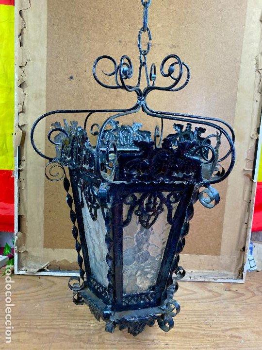 PRECIOSO IMPRESIONANTE FAROL EN FORJA DE GRAN TAMAÑO (Antigüedades - Iluminación - Faroles Antiguos)