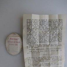 Antigüedades: DETENTE ITALIANO CON ORACIÓN. CORAZÓN DE JESÚS: FERMA!. Lote 205804692