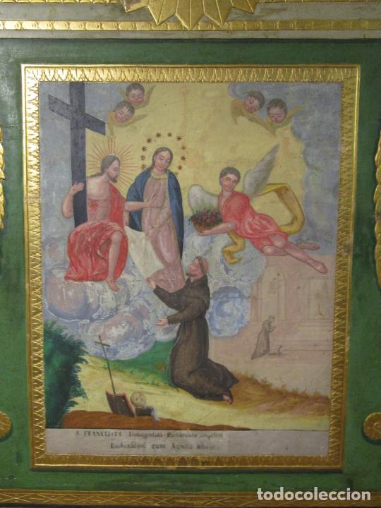Antigüedades: Antigua Cama de Olot - Estilo Neoclásico -Escena de San Francisco, con Inscripción -Finales S. XVIII - Foto 6 - 205806638