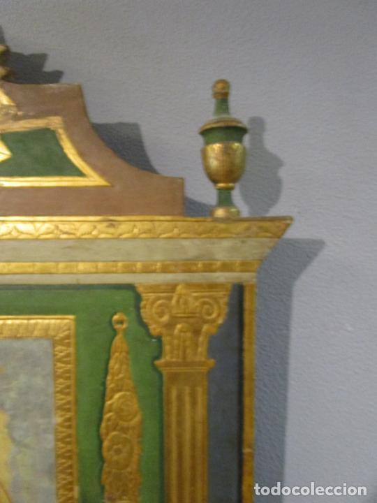 Antigüedades: Antigua Cama de Olot - Estilo Neoclásico -Escena de San Francisco, con Inscripción -Finales S. XVIII - Foto 12 - 205806638