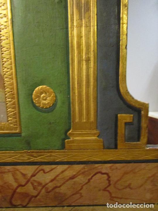 Antigüedades: Antigua Cama de Olot - Estilo Neoclásico -Escena de San Francisco, con Inscripción -Finales S. XVIII - Foto 13 - 205806638