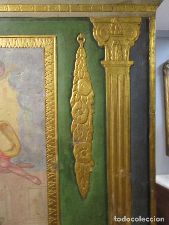 Antigüedades: Antigua Cama de Olot - Estilo Neoclásico -Escena de San Francisco, con Inscripción -Finales S. XVIII - Foto 14 - 205806638