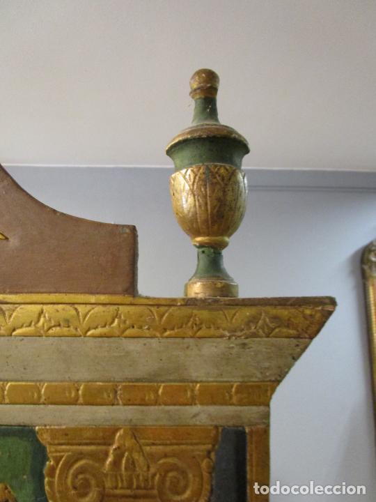 Antigüedades: Antigua Cama de Olot - Estilo Neoclásico -Escena de San Francisco, con Inscripción -Finales S. XVIII - Foto 15 - 205806638