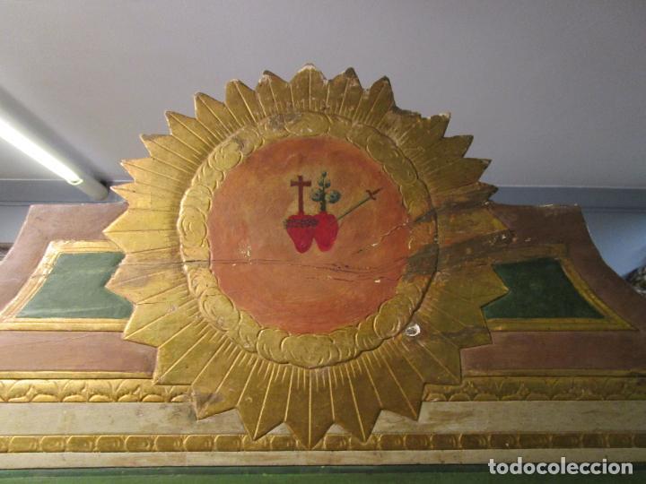 Antigüedades: Antigua Cama de Olot - Estilo Neoclásico -Escena de San Francisco, con Inscripción -Finales S. XVIII - Foto 16 - 205806638