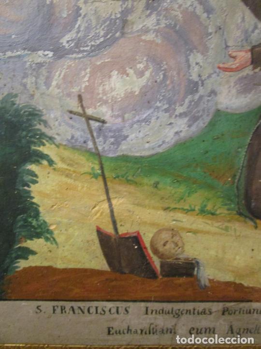 Antigüedades: Antigua Cama de Olot - Estilo Neoclásico -Escena de San Francisco, con Inscripción -Finales S. XVIII - Foto 19 - 205806638