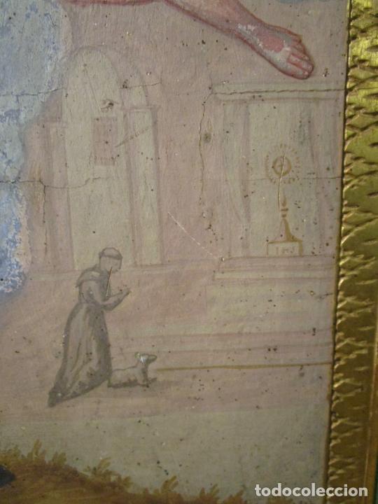 Antigüedades: Antigua Cama de Olot - Estilo Neoclásico -Escena de San Francisco, con Inscripción -Finales S. XVIII - Foto 21 - 205806638