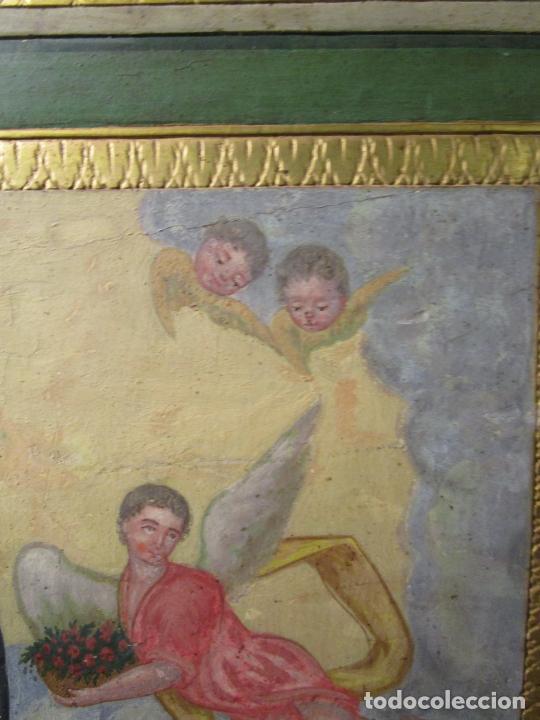 Antigüedades: Antigua Cama de Olot - Estilo Neoclásico -Escena de San Francisco, con Inscripción -Finales S. XVIII - Foto 22 - 205806638