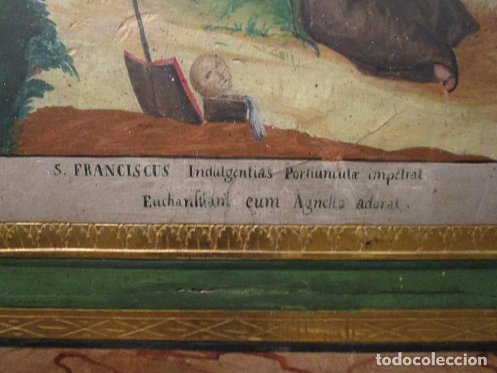 Antigüedades: Antigua Cama de Olot - Estilo Neoclásico -Escena de San Francisco, con Inscripción -Finales S. XVIII - Foto 24 - 205806638
