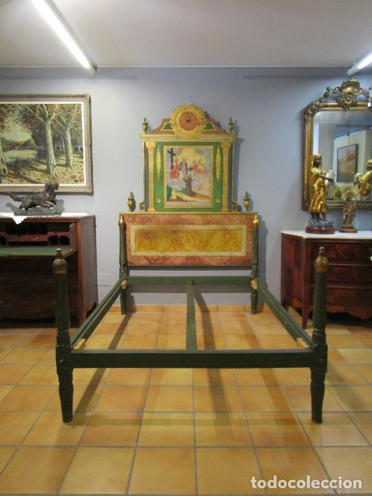 Antigüedades: Antigua Cama de Olot - Estilo Neoclásico -Escena de San Francisco, con Inscripción -Finales S. XVIII - Foto 34 - 205806638