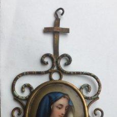 Antigüedades: ANTIGUA BENDITERA CON ESMALTE DE LA VIRGEN - SIGLO XIX - 18X9CM. Lote 205810321
