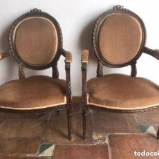 Antigüedades: PAREJA DE SILLONES ESTILO CARLOS IV - MITAD S. XIX.. Lote 205812991