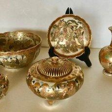 Antigüedades: PORCELANA SATSUMA JAPONESA, PRINCIPIOS DEL SIGLO XX, PLATO CUENCO PEBETERO JARRONES ESMALTADOS ORO. Lote 205814023