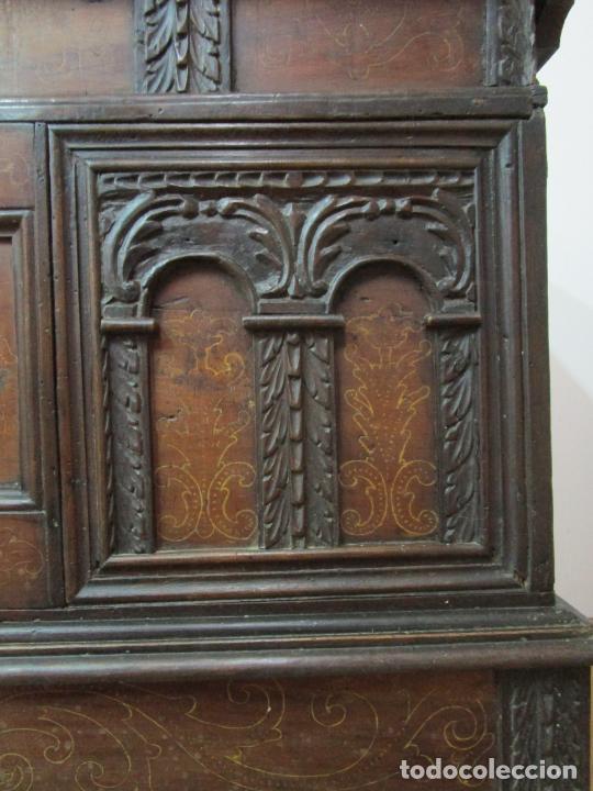 Antigüedades: Arca de Novia Catalana - Caja en Madera de Nogal - Marquetería en Pasta de Época, Original -S. XVIII - Foto 6 - 205816181