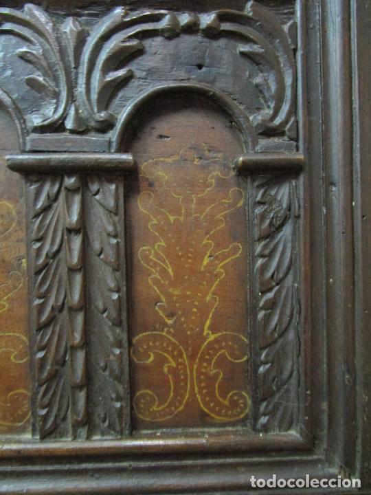 Antigüedades: Arca de Novia Catalana - Caja en Madera de Nogal - Marquetería en Pasta de Época, Original -S. XVIII - Foto 7 - 205816181