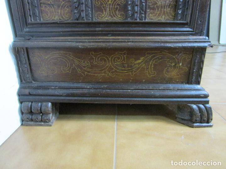 Antigüedades: Arca de Novia Catalana - Caja en Madera de Nogal - Marquetería en Pasta de Época, Original -S. XVIII - Foto 15 - 205816181