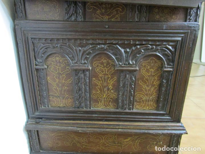 Antigüedades: Arca de Novia Catalana - Caja en Madera de Nogal - Marquetería en Pasta de Época, Original -S. XVIII - Foto 16 - 205816181